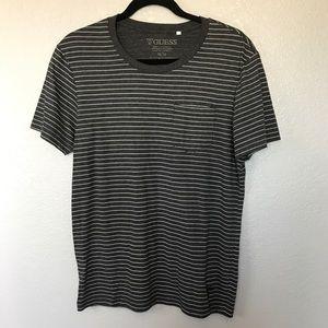 EUC Guess Grey Stripe Crew T-shirt Front Pocket M